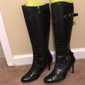 Anyi Liu Black Leather Boots with Full Zipper